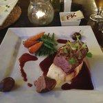 Gressingham duck breats with blackcurrant & plum ju creamy mash & veg