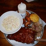 3 meat combo platter with slaw and corn muffin