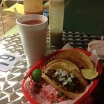 chorizo and barbacoa tacos and strawberry aqua fresca