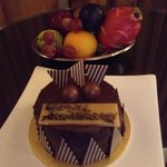 Complimentary cake and fruit bowl
