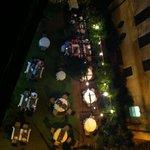 Garden restaurant seen from room terrace