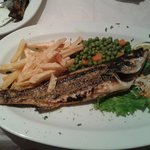 Sea bass with chips.