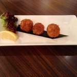 Crab cake Gulnar- spiced crab meat coated with vermicelli and deep fried