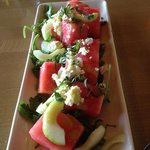 Watermelon and cucumber salad.