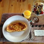 Typically scrumptious breakfast: French toast, fruit parfait