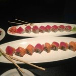 red Dragon roll on top and kiss roll below