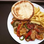 Chicken Fajita with Fries and Pita Bread