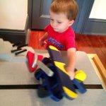 Boys love the aircraft carrier room
