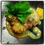 local pork. Malibu orange sauce