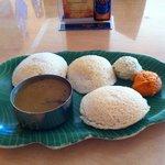 Idlis - steamed rice/lentil cake with chutney