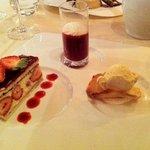 fraisier coulis de framboise glace vanille