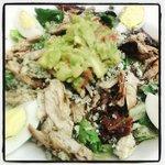 Mediterranean Cobb Salad ... mixed greens, bacon, olive bruschetta, grilled chicken, Gorgonzola,