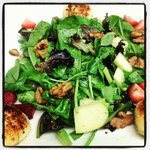Strawberry Goat Cheese Salad...candied walnuts, pan seared goat cheese fritters, sliced Granny S