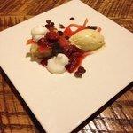 Strawberry shortcake with buttermilk ice cream