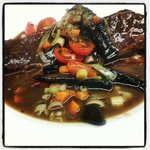 Braised Short Ribs ... Verbal Special (not on the menu). The chef added Roasted Portobella Mushr