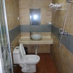 Shower, toilet and sink - a clean standard Chinese bathroom