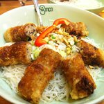 Dry rice noodles in fish sauce (fried pork spring rolls)