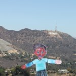 Flat Stanley in front of the Hollywood Sign