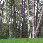 Totem pole in front yard