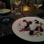 fantastisk dessert med bla peberis