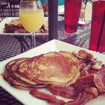 mimosas and sweet potato pancakes