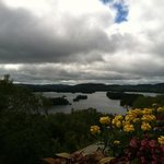 View of Blue Mt. Lake from deck at Adirondack Museum