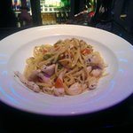 Sameer ordered Pollo Alfredo, a delicious a chicken linguine in a very delicious sauce with fres