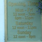 Opening Times - important!