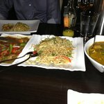 Mains: Lamb Chilli, Veg Fried Noodles and Chicken Curry