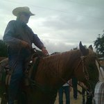 Rancher Larry Cortez, greeting us on horseback