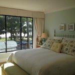 Bedroom with windows overlooking Pacific