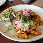tacos with carnitas, red mole chicken and acholte chicken