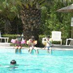 Our children playing at the pool