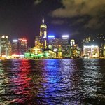 Harbor view at night from Star Ferry