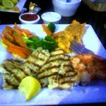 Nice triple entree - catfish, snapper and prawns