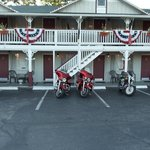 Our motorcycles in front of The Trails Inn