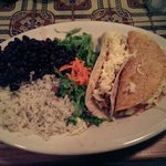 Chicken soft taco, ground beef hard shell, Jasmine rice & black beans