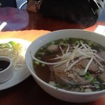 rare beef and beef balls pho