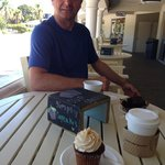 Enjoying a coffee & cupcake on the patio at Dolce Tesoro