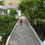 the path to the restaurant and pool