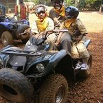 Kids can quad bike too! One sat in front of dad, one sat with the guide