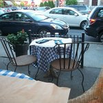The blue gingham table in front of ours.