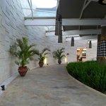front of hotel walkway