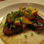 Pork belly on blue cheese grits
