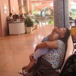 lobby lounge(my son with maternal grandmother)