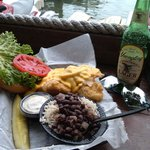 Grouper Sandwich (fried) w/ Black beans and rice