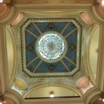 Stain glass in the lobby ceiling