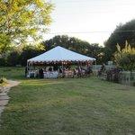 wedding tent set up at Rancho Manzana