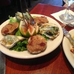 Brophy Bros let us split order with Garlic Baked Clams and Oysters Rockefeller