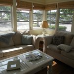 The cozy living room and gorgeous windows